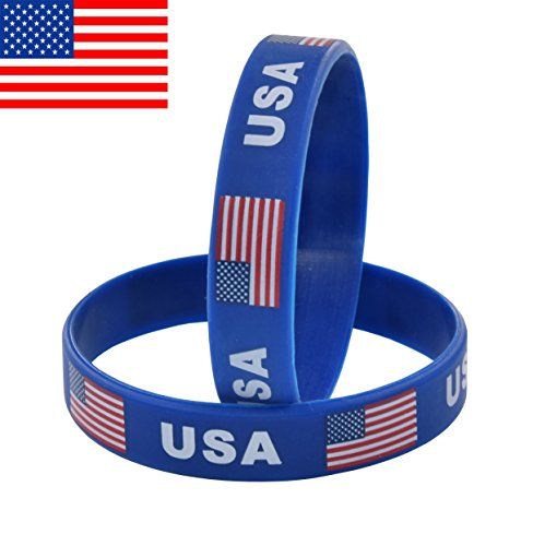 7 INCH Silicone Bracelet Suitable Most People's Wrist Classic Wristbands 2-Pack (USA(Blue)) - 2 Pack Team Wristband