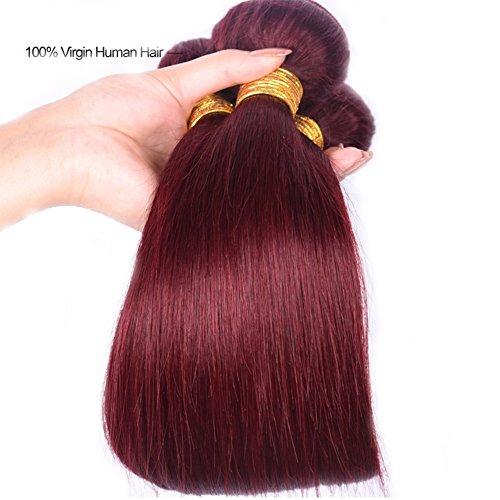Black Rose Brazilian Straight Virgin Hair Weave Pre Colored Burgundy Human Hair 1 Bundle Unprocessed 7A Grade Extensions for Women 100G per piece,10Inch(1pcs)