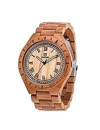 Wood Watch,BIOSTON Natural Wood Watch Roman Number Men Big Size Handmade Vintage Men Wood Watch…
