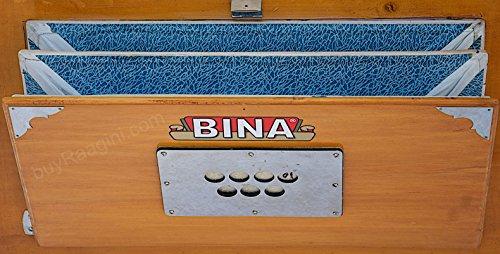 BINA 23B Deluxe, Harmonium, 2 1/2 Octaves, 32 Keys, Small, Portable,  Compact, Special Reeds, Safri, Natural Color, Bag, Book, Kirtan, Musical