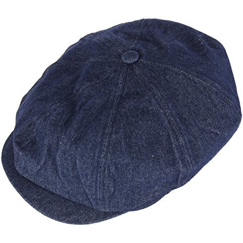 RaOn N18 Men's Fashion Basic Eight Panel Gatsby Style Ivy Cap Ascot Newsboy Beret Hat (Denim-Blue)