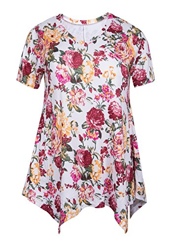 9f09ef34000d9a Galleon - ZERDOCEAN Women Plus Size Printed Short Sleeves Tunic Tops Flowy  T Shirt Style-814 4X
