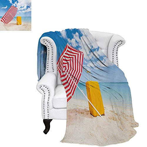 (warmfamily Yellow and Blue Custom Design Cozy Flannel Blanket Windy Sandy Beach with Sunshade and Trolley Summer Holiday Relax Picture Weave Pattern Blanket 60