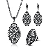 LUYUAN JEWELRY Punk Silvery Flower Wedding Jewelry Sets for Women, Fashion Zinc Alloy Crystal Pendant Necklace Earring Ring Set-Ring#9