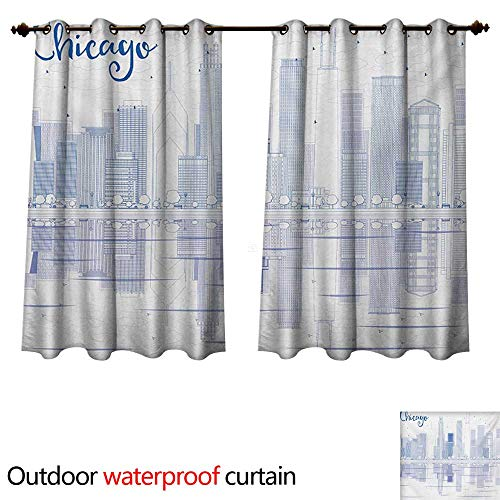 WilliamsDecor Chicago Skyline Outdoor Curtain for Patio Skyscrapers Reflection on Lake Michigan USA City Architecture Print W84 x L72(214cm x 183cm) ()