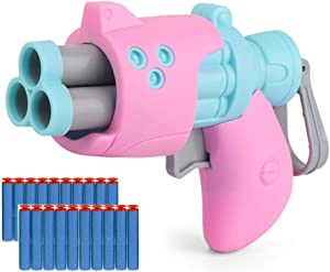 Gun Toy Bullets Pistol for Kids,with 20 Pieces Dart,Foam Blaster Toy Gun ,Children Gift (Bule&Pink)