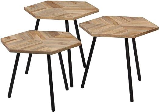 Tidyard - Juego de mesas bajas de jardín (madera hexagonal, 3 piezas): Amazon.es: Hogar