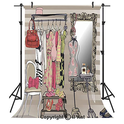 (Heels and Dresses Photography Backdrops,Women Wardrobe Illustration Colorful Retro Interior with Stylish Clothes Decorative,Birthday Party Seamless Photo Studio Booth Background Banner 6x9ft,Multicolo)