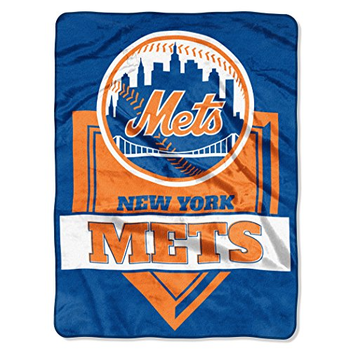 The Northwest Company 1 Pc, New York Mets Blanket 60x80 Raschel Home Plate, Acrylic & Polyester, Extra Warm & Superior Durability, Easy Care, Machine Washable & Dryable ()