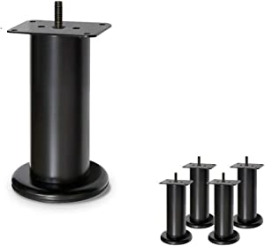 "Metal Sofa Legs, Furniture Legs, Steel, Set of 4 New (4-7/8""H Black)"