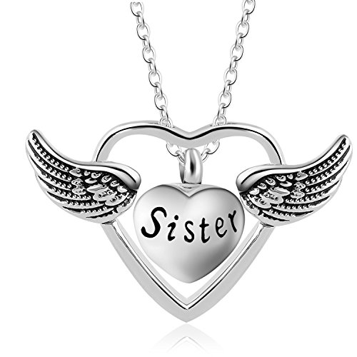 Eternally A Piece Of My Heart Lives In Heaven Religious Angel Wing Ashes Urn Cremation Necklace Jewelry (Sister) by Eternally Loved
