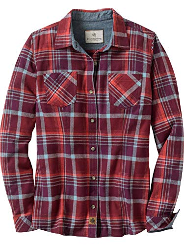 Flannel Long Sleeve Shirt - Legendary Whitetails Women's Cottage Escape Flannels Salmon Plaid X-Large