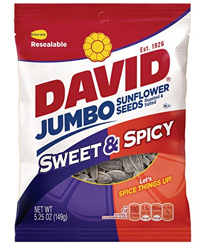 DAVID Roasted and Salted Sweet and Spicy Jumbo Sunflower Seeds, 5.25 oz
