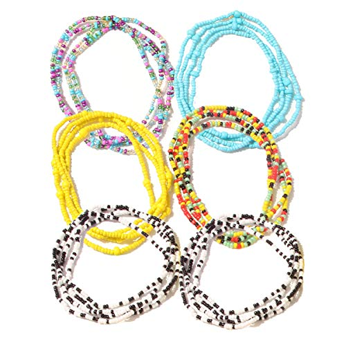 FAUOI Waist Bead Belly Chains for Women Body Chain Jewelry Bohemian Elastic Waist Chain Summer Beach Bracelet, Necklace, Anklet