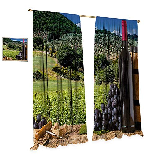 Wine Thermal Insulating Blackout Curtain Idyllic Tuscany Country Landscape Agriculture Harvest Grape Plantation Patterned Drape for Glass Door W108 x L84 Black Green Pale Brown