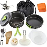 Camping Cookware Mess Kit with Stove for 2 Person, Lightweight Compact Outdoor Aluminum Camping Cookware Utensils Set, Collapsible Non Stick Pot and Pan for Hiking Backpacking