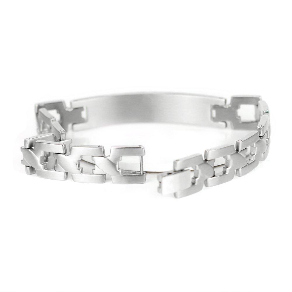 Acero inoxidable pulsera brazalete de identidad ID pulsera grabado gratuito grabado diamante