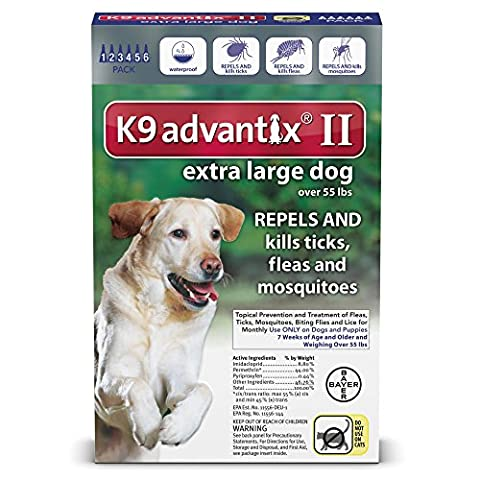 Advantix II K9 Blue - 6-Month Treatment for Extra Large Dogs Over 55 lbs -- 6 Tubes by K9 Advantix - Advantix Flea Treatment