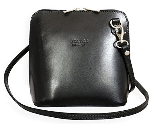 Ann Tarry Color Splash Collection Genuine Leather Shoulder Crossbody Bag Made in Italy (Black)