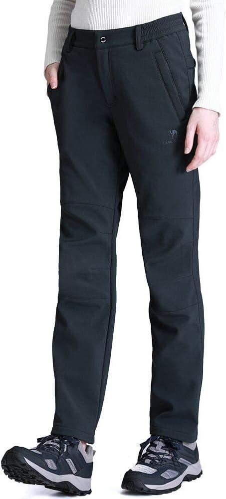 CAMEL CROWN Hombres y Mujeres Pantalones de Softshell Pantalones Forro de Lana Pantalones de Carga Impermeables Ligeros Pantalones de Senderismo