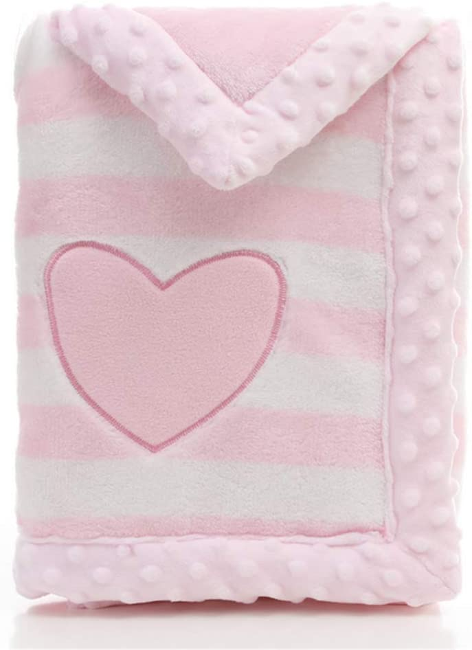 LANDOR Baby Blanket Double Layer Flannel Soft Winter Warm Stripes Plush Toddler Blanket Comfortable Pram Blanket
