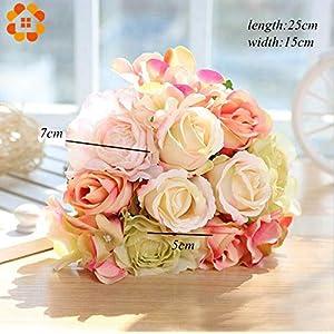 ARISLUX Chicken Party - 12pcs Artificial Rose Bouquet Decorative Silk Flowers Bride for Wedding Home Party Decoration Wedding Supplies 5