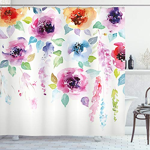 Ambesonne Abstract Shower Curtain by, Modern Design Watercolor Decor with Floral Leaves Seemed Ombre Details Art Print, Fabric Bathroom Decor Set with Hooks, 70 Inches, Multicolor