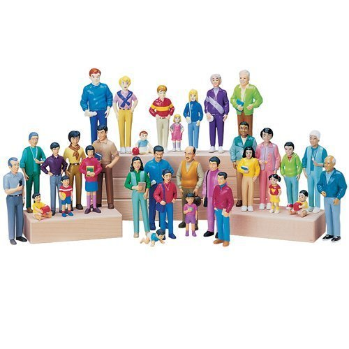 Constructive Playthings CPX-720 Pretend Play Families – Set of 4 – Block Play