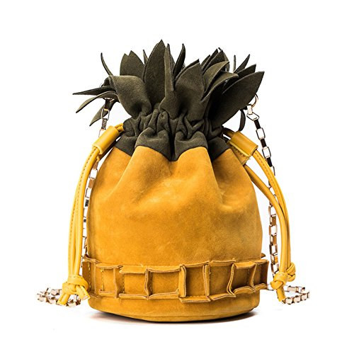 Kukoo Girl Suede Cross Body Bag Pineapple Shaped Creative Single Shoulder Bag Fashion Bag (suede yellow)