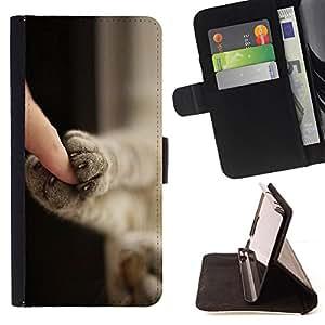 - Kitten Paws Cute Shorthair Claws Cat - - Prima caja de la PU billetera de cuero con ranuras para tarjetas, efectivo desmontable correa para l Funny HouseFOR Samsung Galaxy S3 Mini I8190Samsung Galaxy S3 Mini I8190