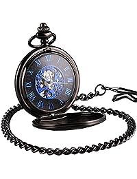 WENSHIDA Antique Half Hunter Mens Black Retro Blue Roman Numerals Dial Mechanical Pocket Watch