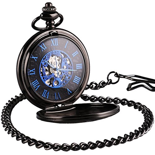 WENSHIDA Antique Half Hunter Mens Black Retro Blue Roman Numerals Dial Mechanical Pocket Watch