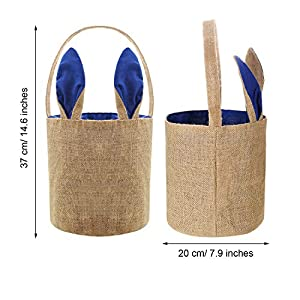 Easter Egg Basket Bunny Burlap Bag Easter Handbag for Carrying Eggs Candies and Gifts (Dark Blue, 2 Pieces)