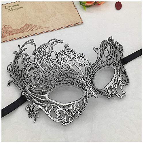 Womens Mask Silver Hot Stamping Ladies Sexy Lace Masquerade Mask for Carnival Halloween Prom Half Face Ball Party Masks Cutout Eye Mask #10 Pm016Ts