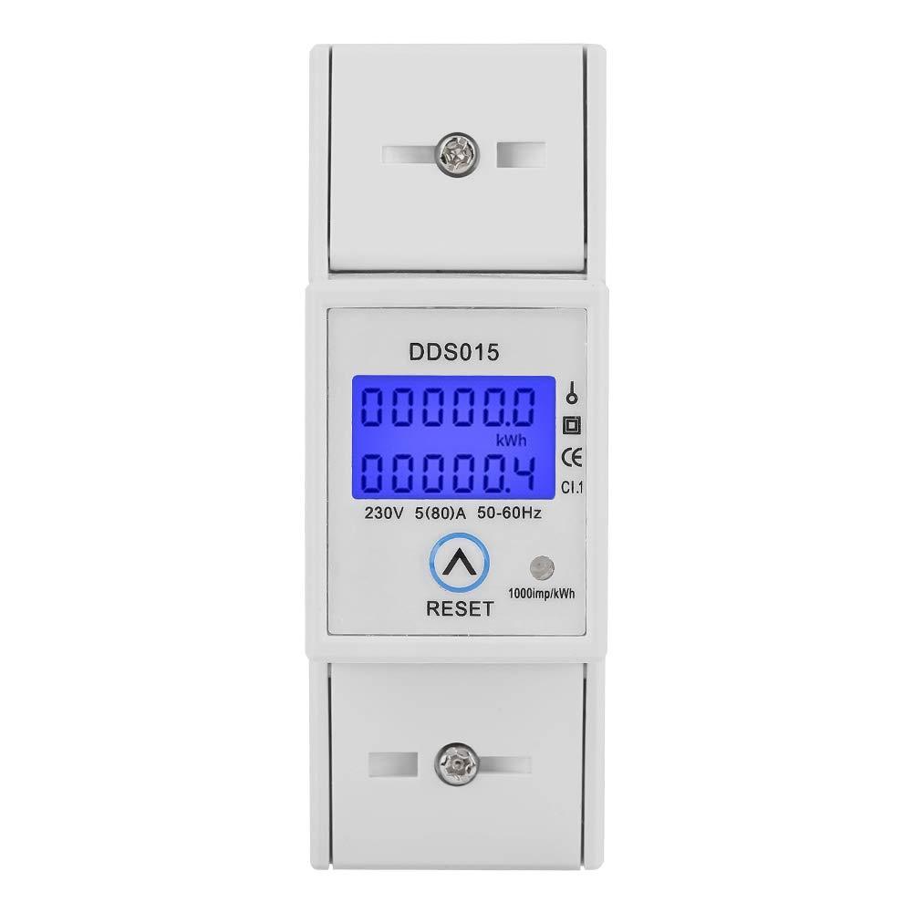 Stromz/ähler 35 mm DIN Schienenmontage Energiemesser mit Durchsichtigem LCD Display Energiekosten Messger/ät Stromz/ähler Energiemesser