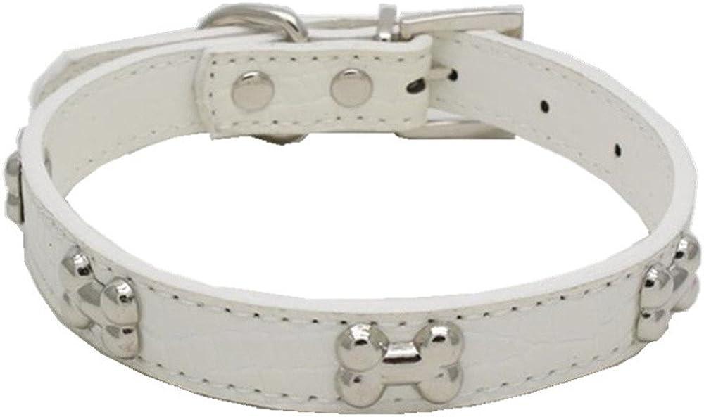 SOMESUN Hundehalsband Leder Knochendekoration in verschiedenen Gr/ö/ßen erh/ältlich Lederhalsband Hund Halsband Leder