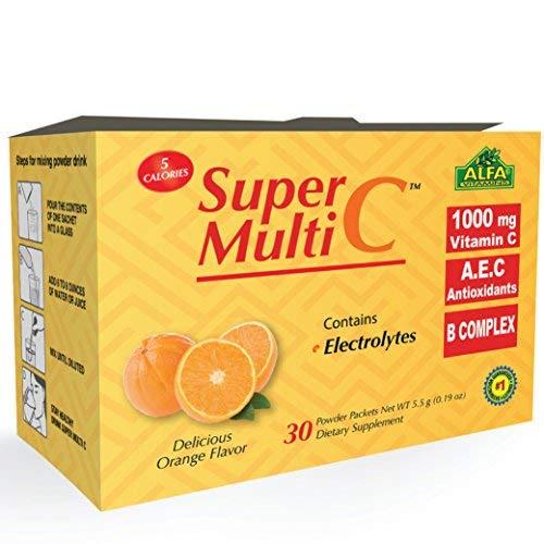 Super Multi C, Vitamin C Powder Supplement by ALFA VITAMINS - Premium Quality Source of Nutrients, Minerals, Antioxidants & Electrolytes -Energy Boosting Multi-Vitamin Blend - 30 Sachets