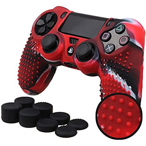 Pandaren STUDDED Anti-slip Silicone Cover Skin Set for PS4 /SLIM /PRO controller(CamouRed controller skin x 1 + FPS PRO Thumb Grips x (Xbox 360 Aluminum Triggers)