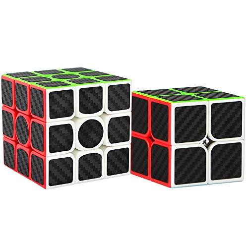 Dreampark 2 Pack Speed Cube 2x2 3x3 Carbon Fiber Sticker Magic Cube Twisty Puzzle Toy Christmas Birthday Gifts for Kids Set of 2