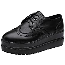 rismart Women's Brogue Design Wedges Stylish Pure Black Leather Fashion Sneakers Shoes