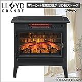 電気式暖炉 ロイドグランデ【3Dパワーヒート 電気薪ストーブパワーヒート(1000W) ブラック色】