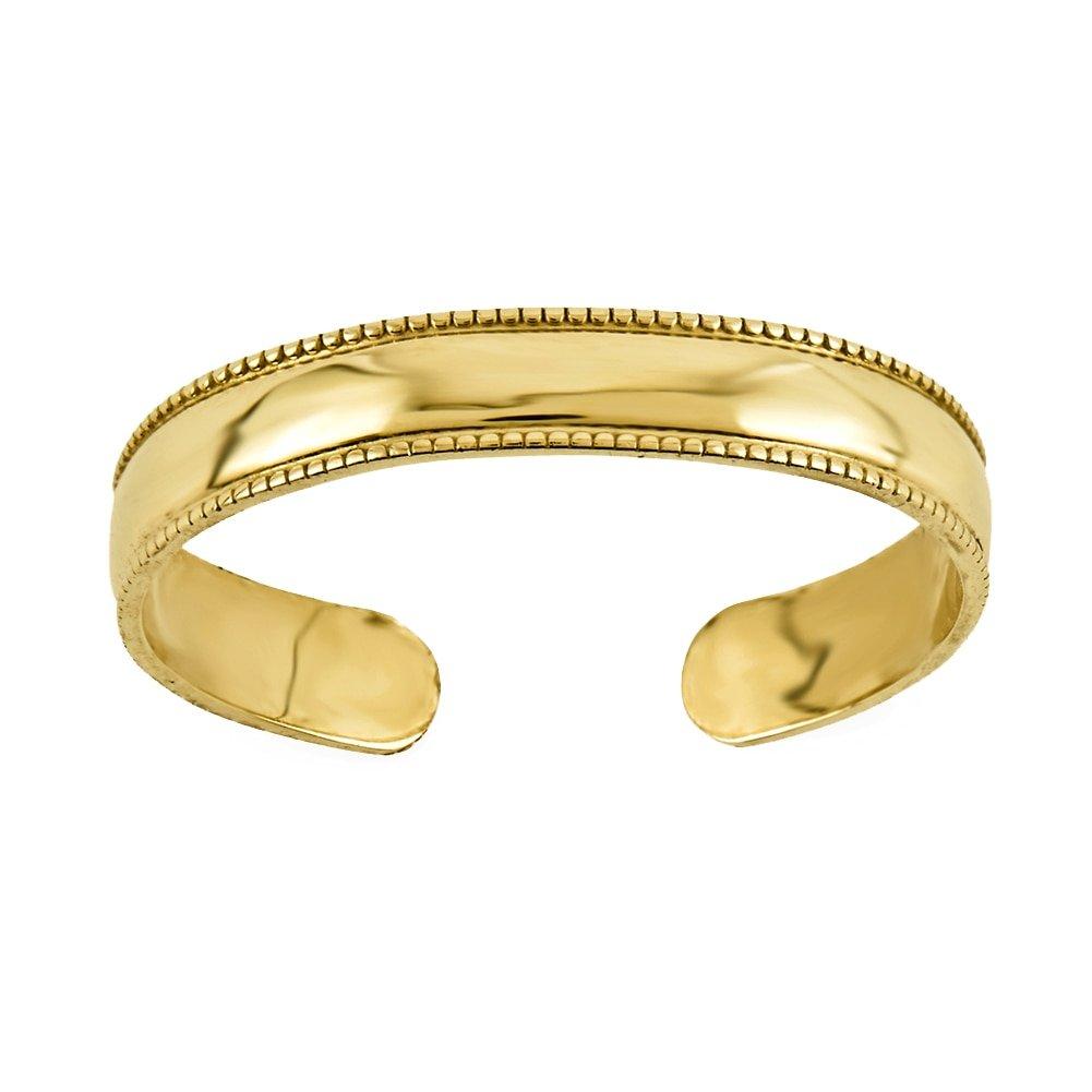 Lex & Lu 14k Yellow Gold Mill Grain Adjustable Toe Ring