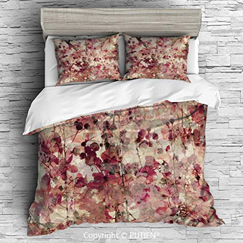 FULL Size Cute 3 Piece Duvet Cover Sets Bedding Set Collection [ Antique Decor,Grungy Effect Cherry Blossoms on Ribbed Bamboo Retro Background Floral Art Work,Pink Beige ] Comforter Cover Set for Kids