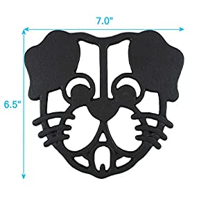 Cara's Casa Dog Trivet - Black Cast Iron - for Kitchen & Dining Table - More than One Makes a Set for Counter, Wall Art or Decoration Accessory - Housewarming & Dog Lover Gifts - 7 by 6.5 In