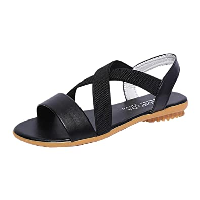 9ede395842a4b3 Halijack Women s Sandals Summer Peep Toe Buckle Strap Sandals Fashion Low  Flat Heel Cross Strap Sandals