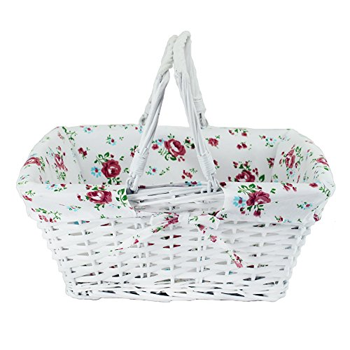 Wicker White Storage Gift Basket Willow Woven Picnic Basket with Double Folding Handles,Kingwillow. (Willow Bike Baskets)