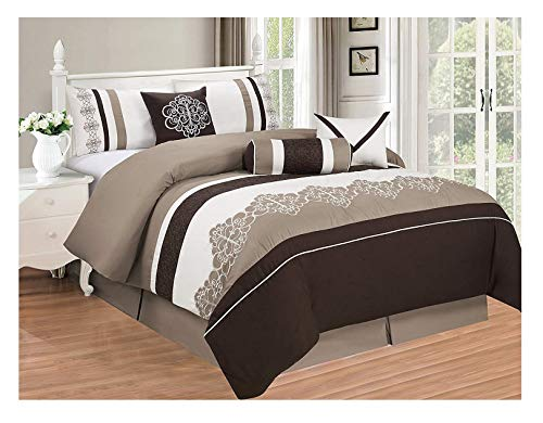 All American Collection New 7 Piece Embroidered Over-Sized Comforter Set (Queen, Brown/Beige) ()