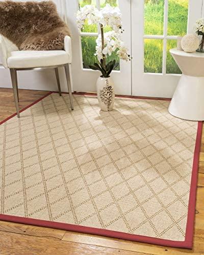 Natural Area Rugs 100 Natural Fiber Handmade Porto, Beige Wool Sisal Rug, 12 x 15 Red Border