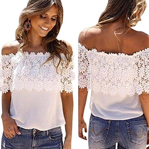 Blackobe Women Casual Shirt, Lace Crochet Off Shoulder Shirt Tops Blouse (S)