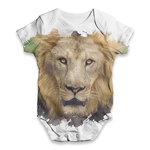 Lion Body - Twisted Envy Baby Unisex African Lion ALL-OVER PRINT Bodysuit Baby Grow Baby Romper 18 - 24 Months White